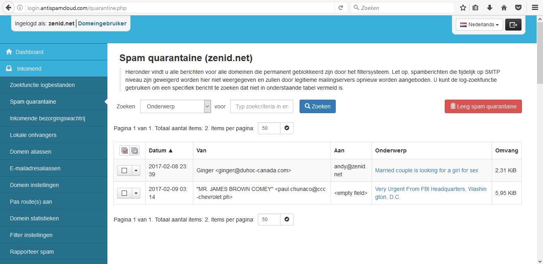 hosting email filter